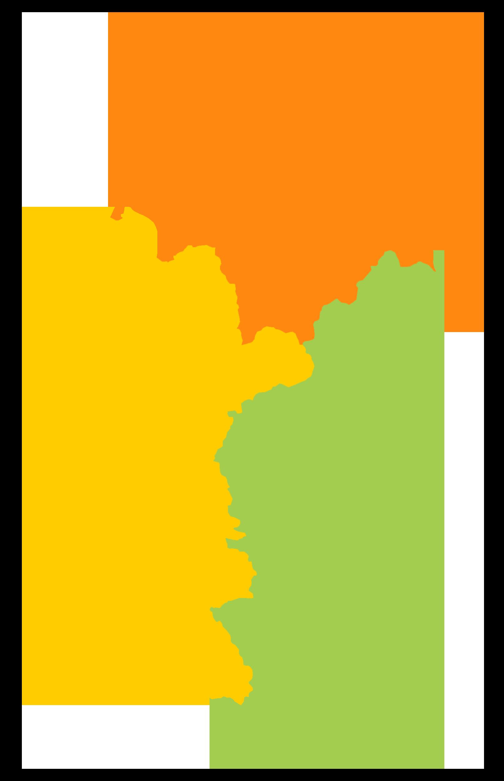 画像:秋田県をエリア別に色分けした地図